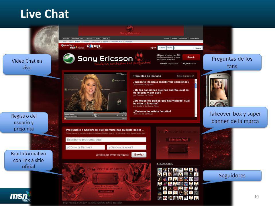 Confidential10 Preguntas de los fans Takeover box y super banner de la marca Registro del usuario y pregunta Video Chat en vivo Box Informativo con link a sitio oficial Seguidores Live Chat