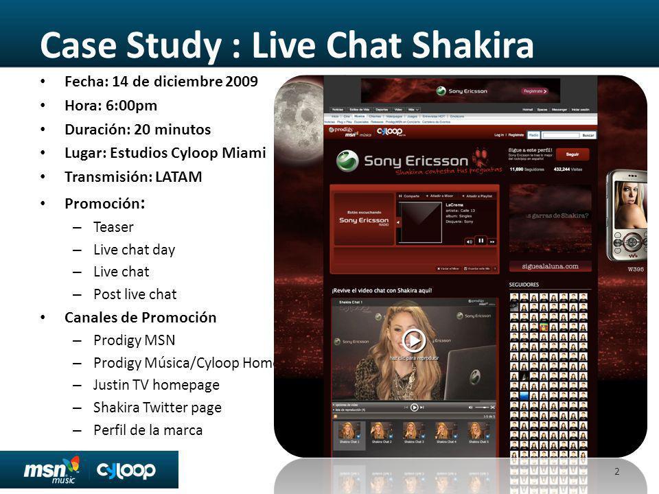Case Study : Live Chat Shakira Fecha: 14 de diciembre 2009 Hora: 6:00pm Duración: 20 minutos Lugar: Estudios Cyloop Miami Transmisión: LATAM Promoción : – Teaser – Live chat day – Live chat – Post live chat Canales de Promoción – Prodigy MSN – Prodigy Música/Cyloop Home – Justin TV homepage – Shakira Twitter page – Perfil de la marca 2