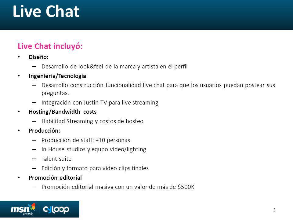 Live Chat Live Chat incluyó: Diseño: – Desarrollo de look&feel de la marca y artista en el perfil Ingeniería/Tecnología – Desarrollo construcción funcionalidad live chat para que los usuarios puedan postear sus preguntas.