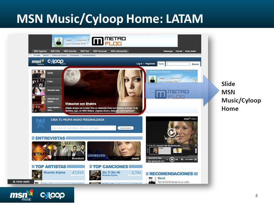 MSN Music/Cyloop Home: LATAM 8 Slide MSN Music/Cyloop Home