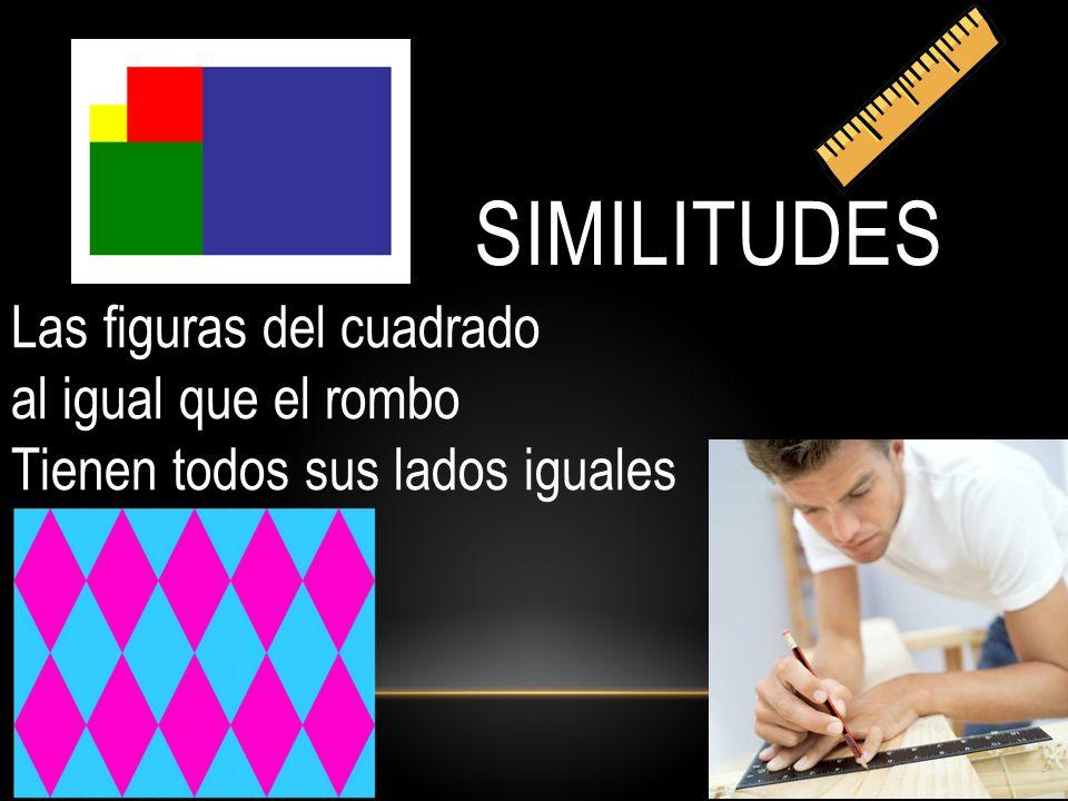 SIMILITUDES Las figuras del cuadrado al igual que el rombo Tienen todos sus lados iguales