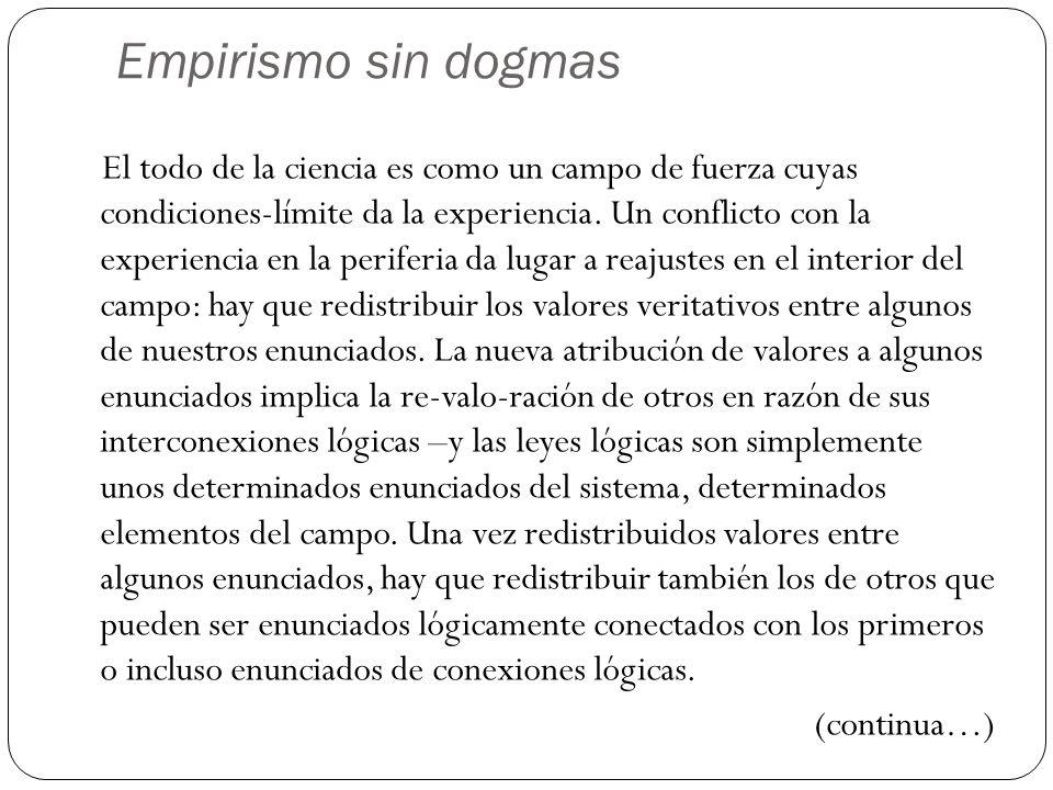 Empirismo sin dogmas El todo de la ciencia es como un campo de fuerza cuyas condiciones-límite da la experiencia. Un conflicto con la experiencia en l