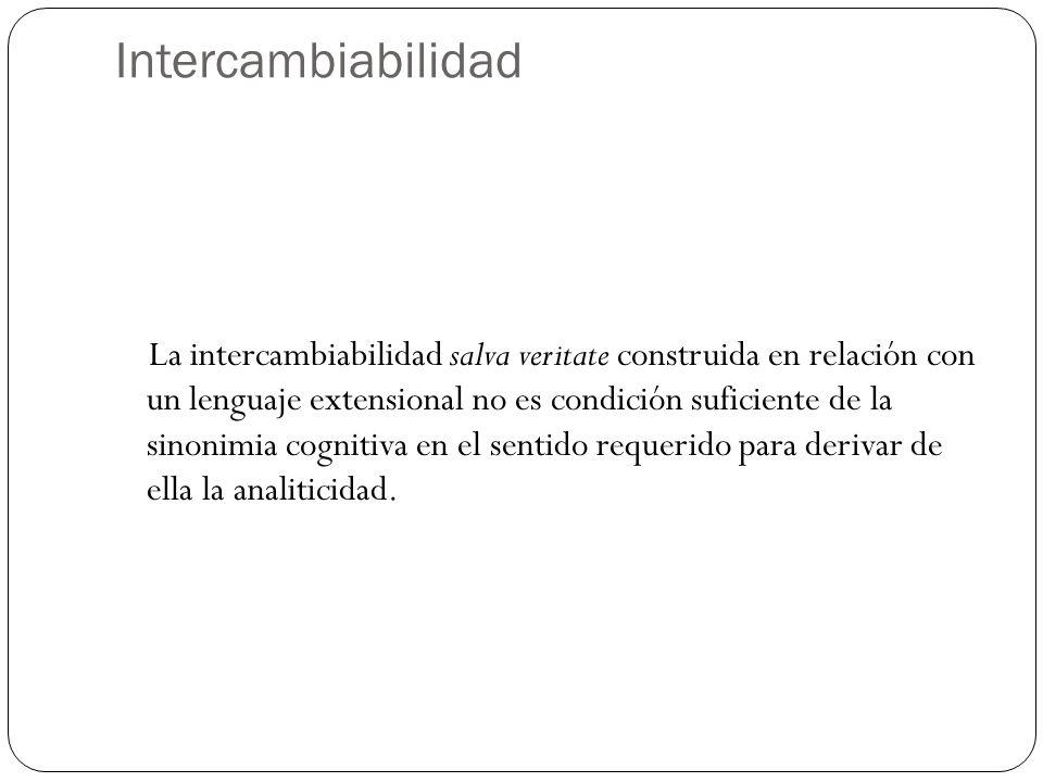 Intercambiabilidad La intercambiabilidad salva veritate construida en relación con un lenguaje extensional no es condición suficiente de la sinonimia cognitiva en el sentido requerido para derivar de ella la analiticidad.