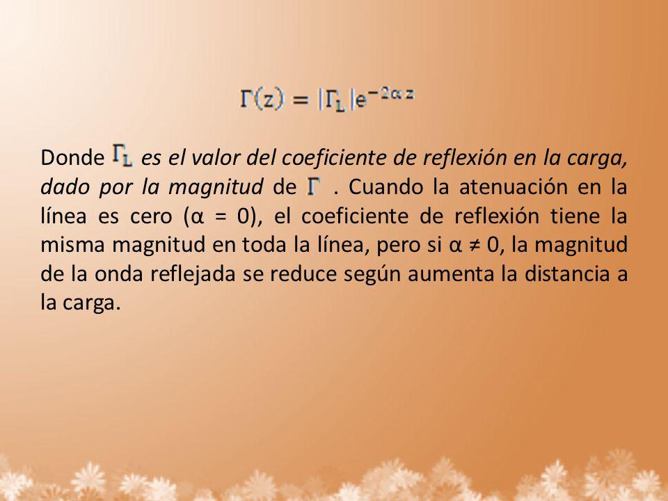 Donde es el valor del coeficiente de reflexión en la carga, dado por la magnitud de. Cuando la atenuación en la línea es cero (α = 0), el coeficiente