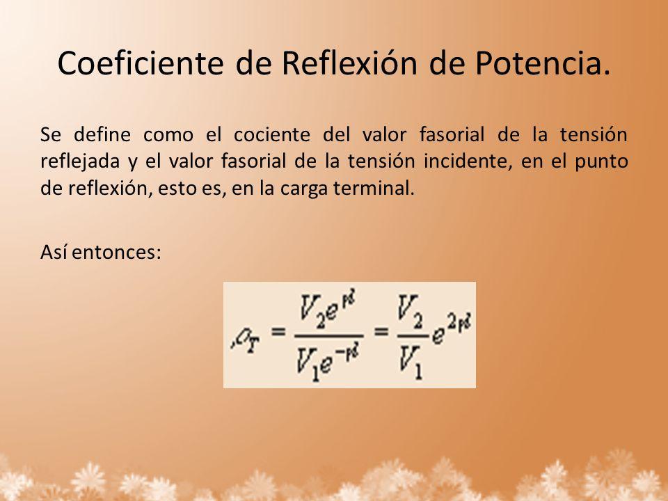 Coeficiente de Reflexión de Potencia. Se define como el cociente del valor fasorial de la tensión reflejada y el valor fasorial de la tensión incident