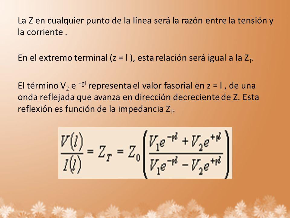 La Z en cualquier punto de la línea será la razón entre la tensión y la corriente. En el extremo terminal (z = l ), esta relación será igual a la Z T.