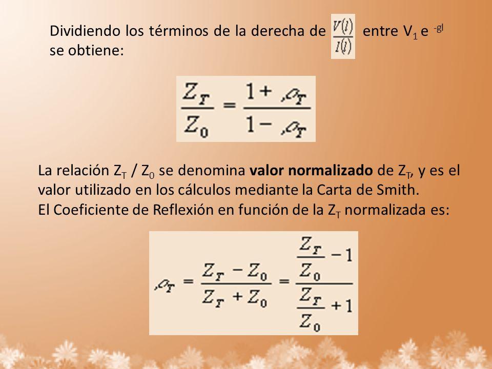 Dividiendo los términos de la derecha de entre V 1 e -gl se obtiene: La relación Z T / Z 0 se denomina valor normalizado de Z T, y es el valor utiliza