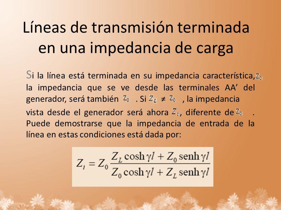 Líneas de transmisión terminada en una impedancia de carga S i la línea está terminada en su impedancia característica, la impedancia que se ve desde