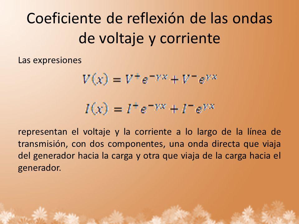 Coeficiente de reflexión de las ondas de voltaje y corriente Las expresiones representan el voltaje y la corriente a lo largo de la línea de transmisi