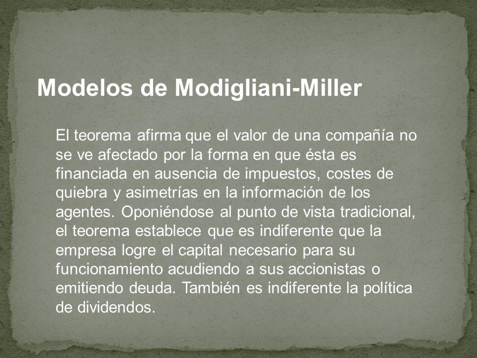 Modelos de Modigliani-Miller El teorema afirma que el valor de una compañía no se ve afectado por la forma en que ésta es financiada en ausencia de im