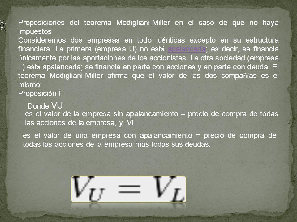 Proposiciones del teorema Modigliani-Miller en el caso de que no haya impuestos Consideremos dos empresas en todo id é nticas excepto en su estructura