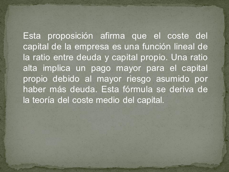 Esta proposición afirma que el coste del capital de la empresa es una función lineal de la ratio entre deuda y capital propio. Una ratio alta implica