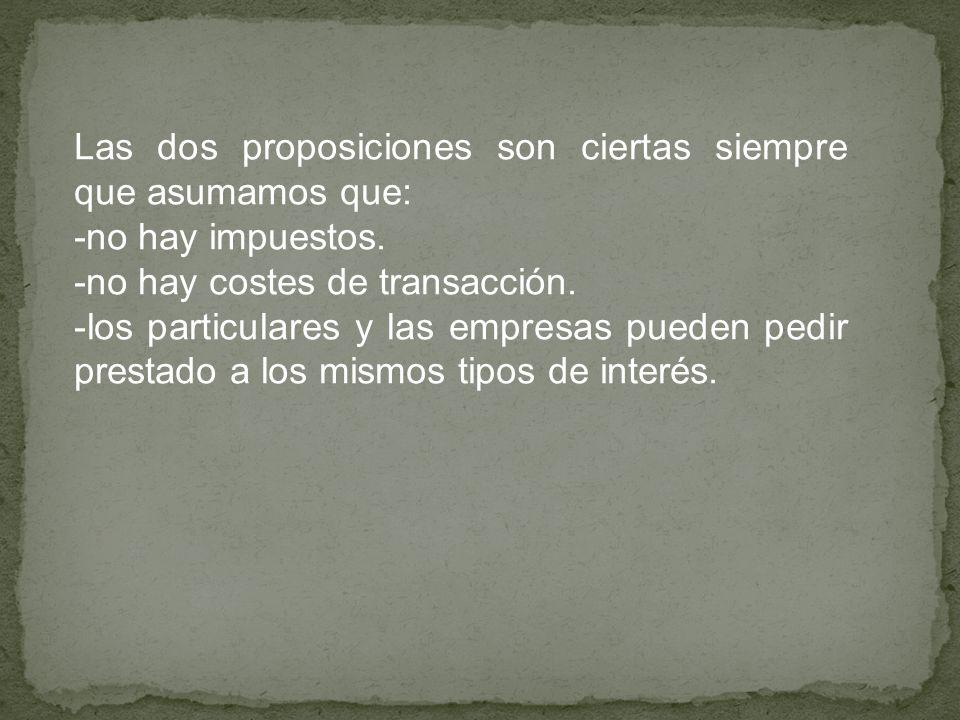 Las dos proposiciones son ciertas siempre que asumamos que: -no hay impuestos. -no hay costes de transacción. -los particulares y las empresas pueden