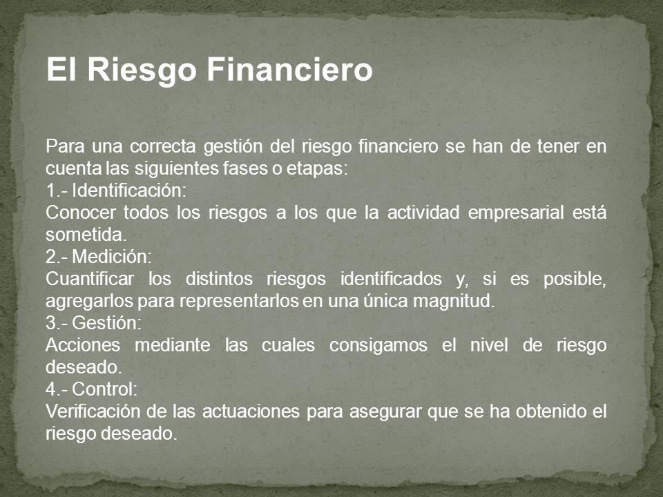 El Riesgo Financiero Para una correcta gestión del riesgo financiero se han de tener en cuenta las siguientes fases o etapas: 1.- Identificación: Cono