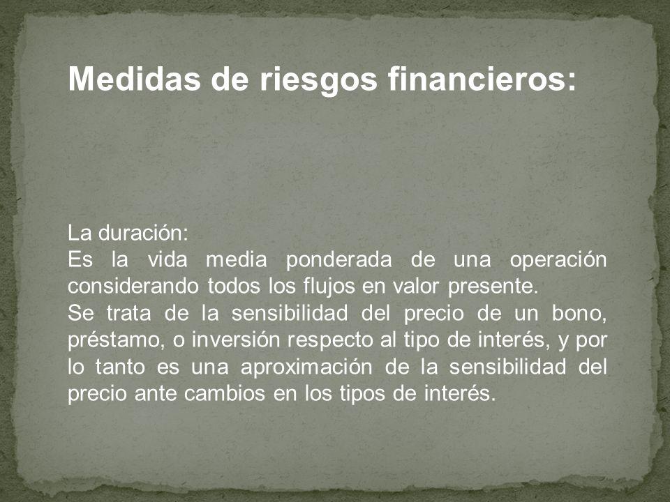 Medidas de riesgos financieros: La duración: Es la vida media ponderada de una operación considerando todos los flujos en valor presente. Se trata de