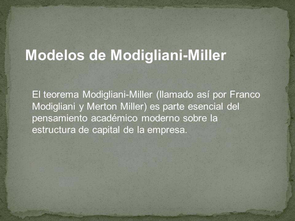Modelos de Modigliani-Miller El teorema afirma que el valor de una compañía no se ve afectado por la forma en que ésta es financiada en ausencia de impuestos, costes de quiebra y asimetrías en la información de los agentes.