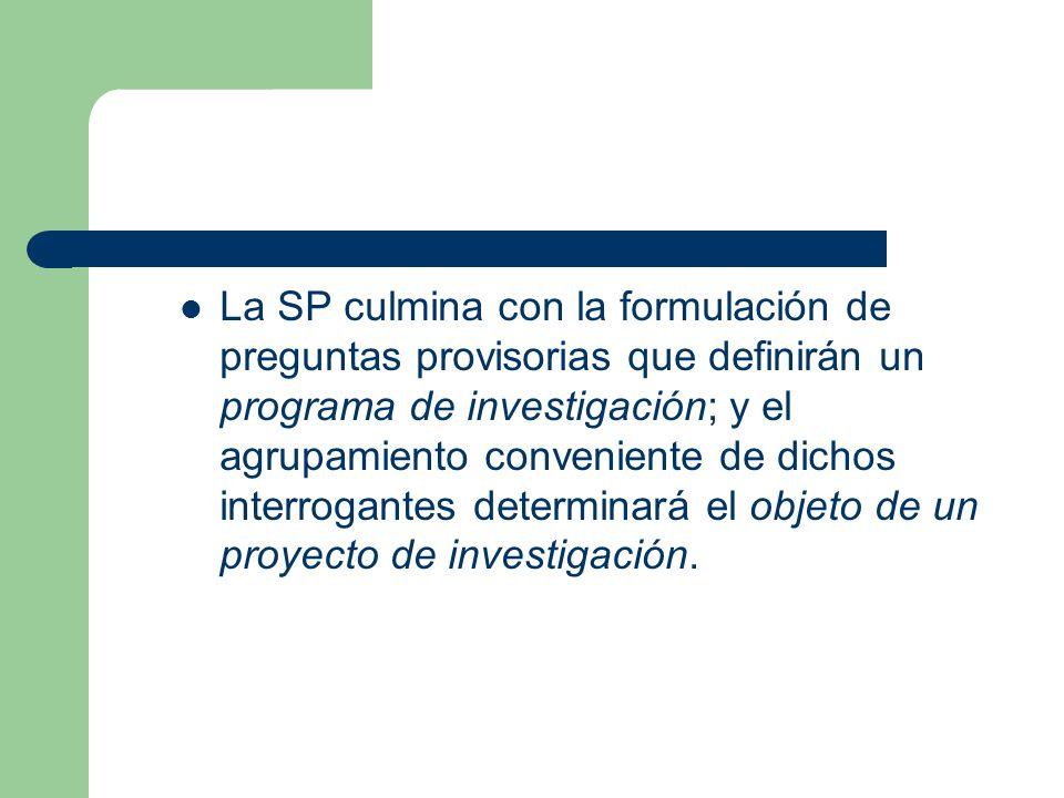 La SP culmina con la formulación de preguntas provisorias que definirán un programa de investigación; y el agrupamiento conveniente de dichos interrog