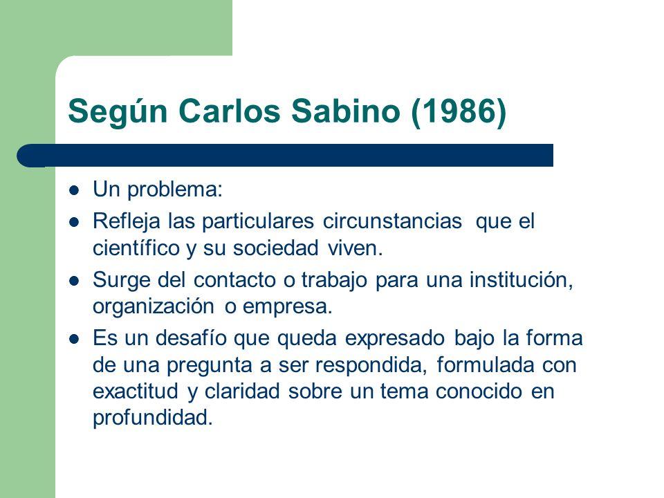 Según Carlos Sabino (1986) Un problema: Refleja las particulares circunstancias que el científico y su sociedad viven. Surge del contacto o trabajo pa