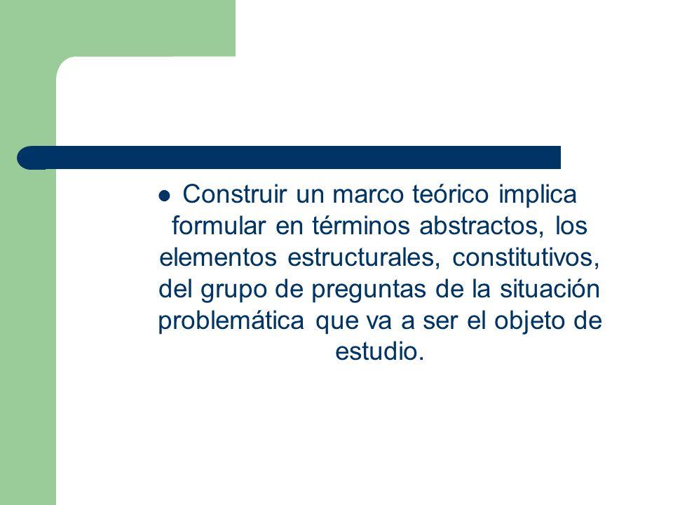 Construir un marco teórico implica formular en términos abstractos, los elementos estructurales, constitutivos, del grupo de preguntas de la situación