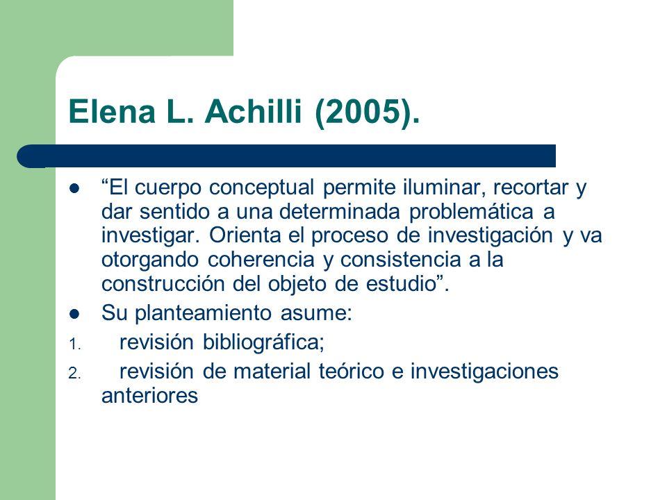Elena L. Achilli (2005). El cuerpo conceptual permite iluminar, recortar y dar sentido a una determinada problemática a investigar. Orienta el proceso