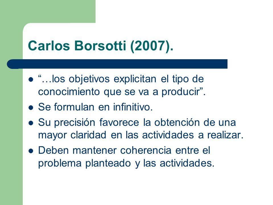 Carlos Borsotti (2007). …los objetivos explicitan el tipo de conocimiento que se va a producir. Se formulan en infinitivo. Su precisión favorece la ob