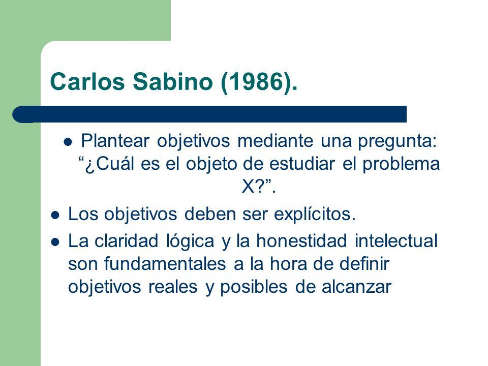 Carlos Sabino (1986). Plantear objetivos mediante una pregunta: ¿Cuál es el objeto de estudiar el problema X?. Los objetivos deben ser explícitos. La