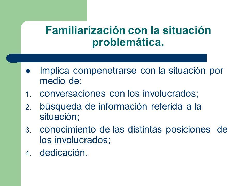 Familiarización con la situación problemática. Implica compenetrarse con la situación por medio de: 1. conversaciones con los involucrados; 2. búsqued