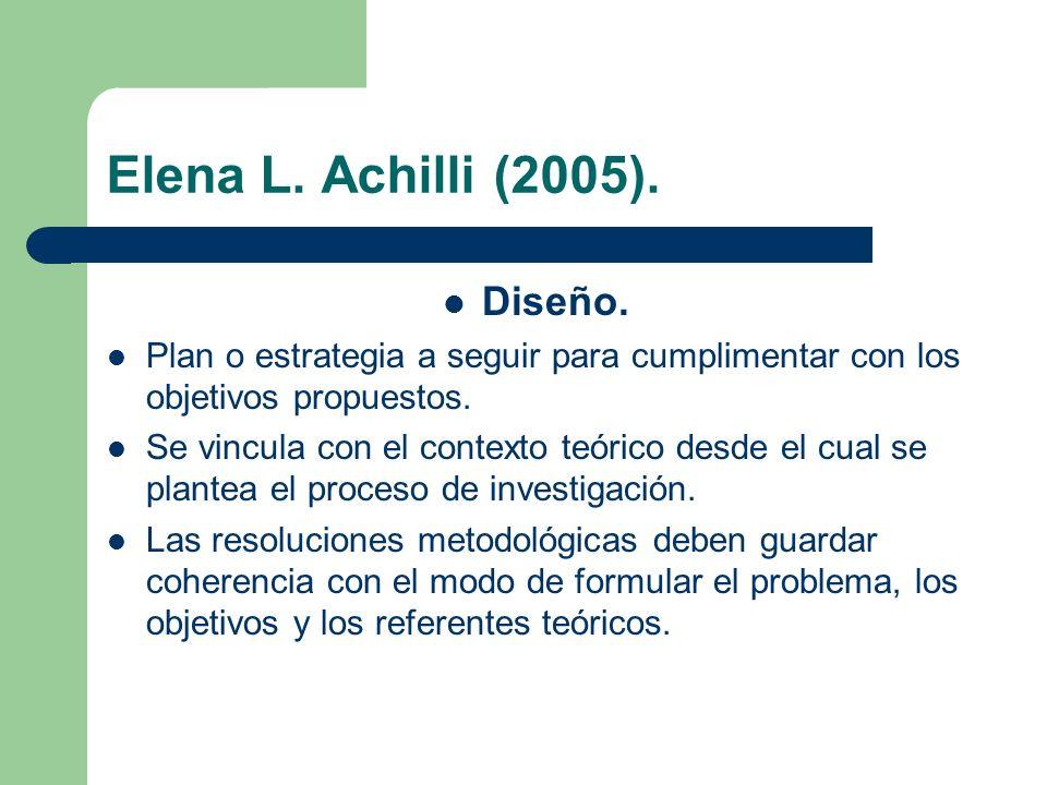 Elena L. Achilli (2005). Diseño. Plan o estrategia a seguir para cumplimentar con los objetivos propuestos. Se vincula con el contexto teórico desde e