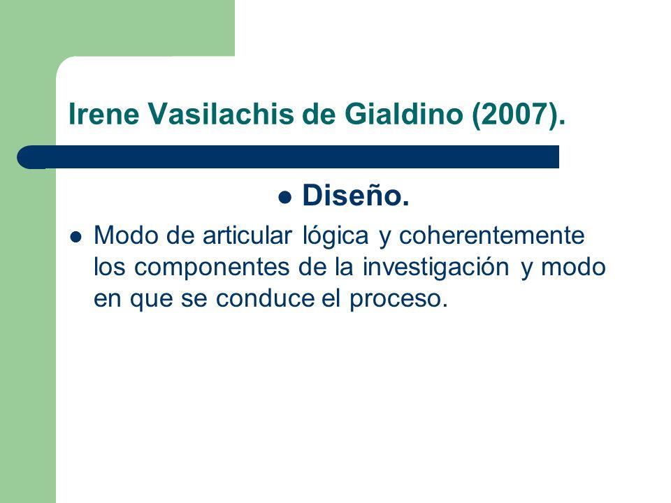 Irene Vasilachis de Gialdino (2007). Diseño. Modo de articular lógica y coherentemente los componentes de la investigación y modo en que se conduce el