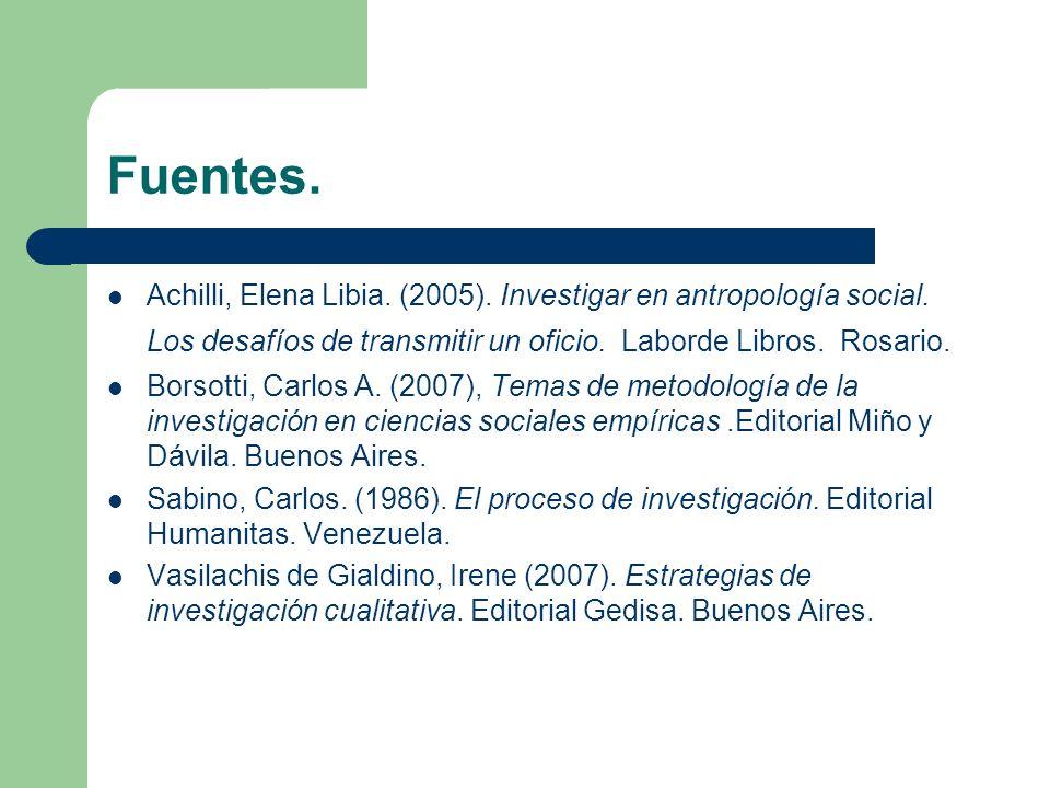 Fuentes. Achilli, Elena Libia. (2005). Investigar en antropología social. Los desafíos de transmitir un oficio. Laborde Libros. Rosario. Borsotti, Car