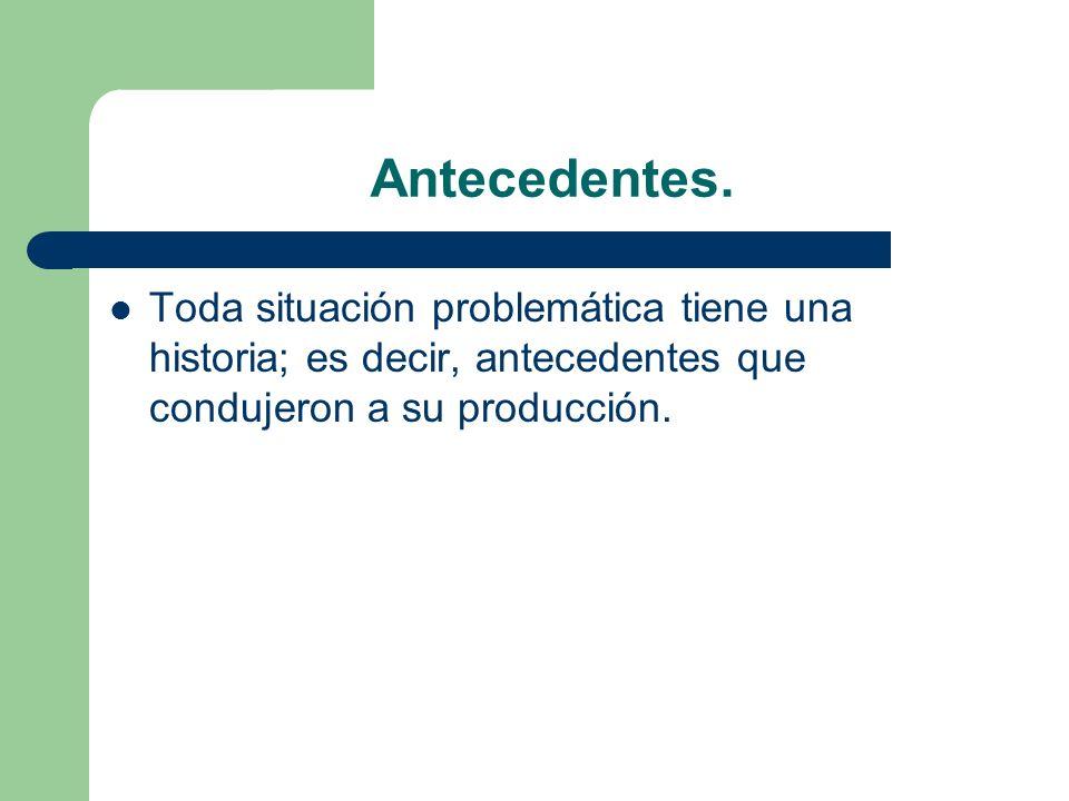 Antecedentes. Toda situación problemática tiene una historia; es decir, antecedentes que condujeron a su producción.