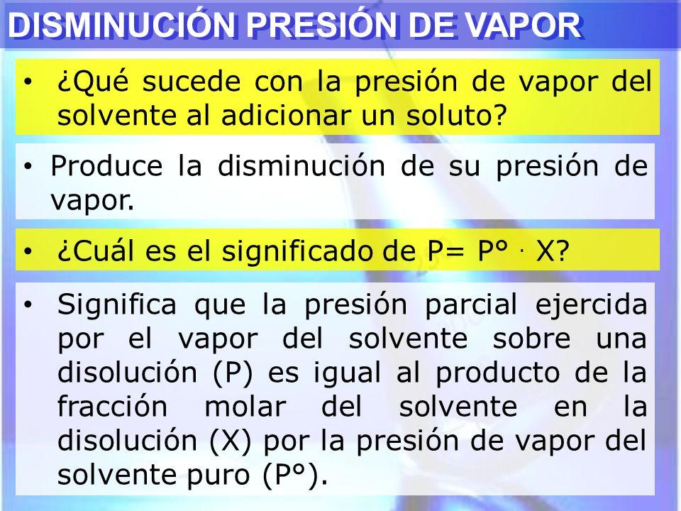 ¿Qué sucede con la presión de vapor del solvente al adicionar un soluto? DISMINUCIÓN PRESIÓN DE VAPOR Produce la disminución de su presión de vapor. ¿
