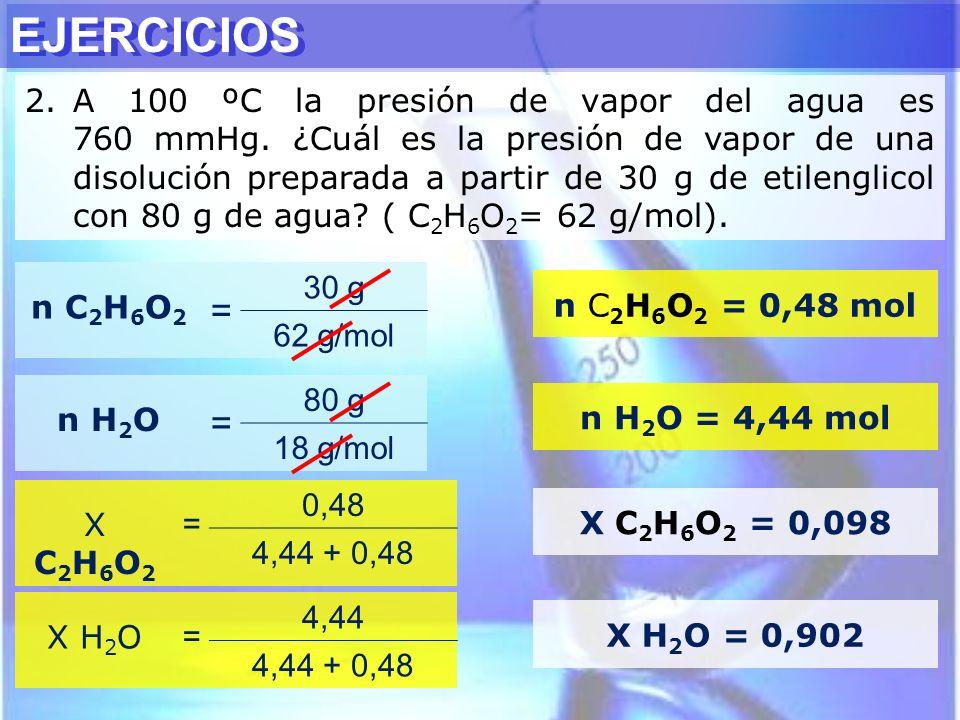 EJERCICIOS 2.A 100 ºC la presión de vapor del agua es 760 mmHg. ¿Cuál es la presión de vapor de una disolución preparada a partir de 30 g de etilengli
