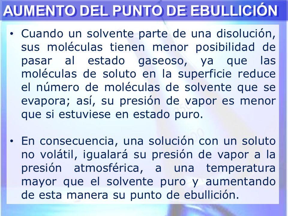 Cuando un solvente parte de una disolución, sus moléculas tienen menor posibilidad de pasar al estado gaseoso, ya que las moléculas de soluto en la su
