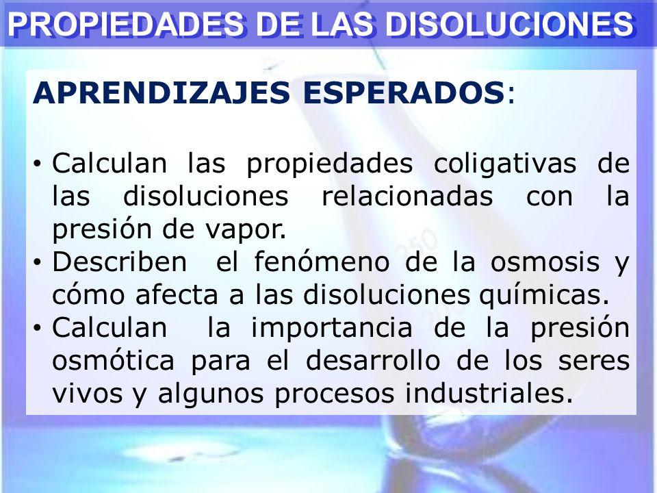 PROPIEDADES DE LAS DISOLUCIONES APRENDIZAJES ESPERADOS: Calculan las propiedades coligativas de las disoluciones relacionadas con la presión de vapor.