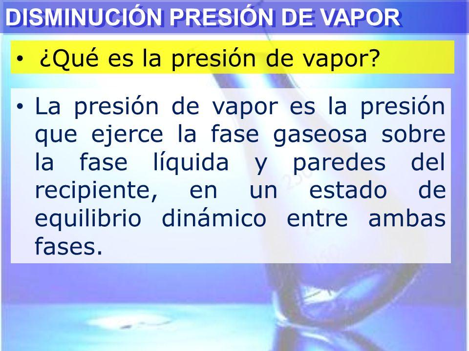 ¿Qué es la presión de vapor? DISMINUCIÓN PRESIÓN DE VAPOR La presión de vapor es la presión que ejerce la fase gaseosa sobre la fase líquida y paredes