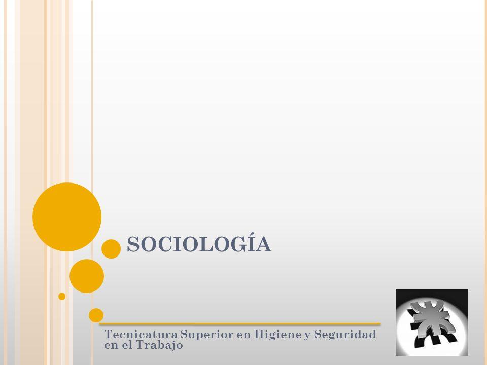 SOCIOLOGÍA Tecnicatura Superior en Higiene y Seguridad en el Trabajo