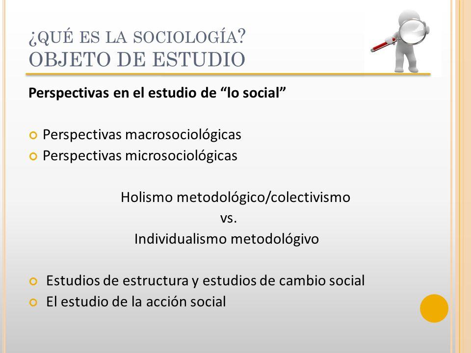 ¿ QUÉ ES LA SOCIOLOGÍA ? OBJETO DE ESTUDIO Perspectivas en el estudio de lo social Perspectivas macrosociológicas Perspectivas microsociológicas Holis