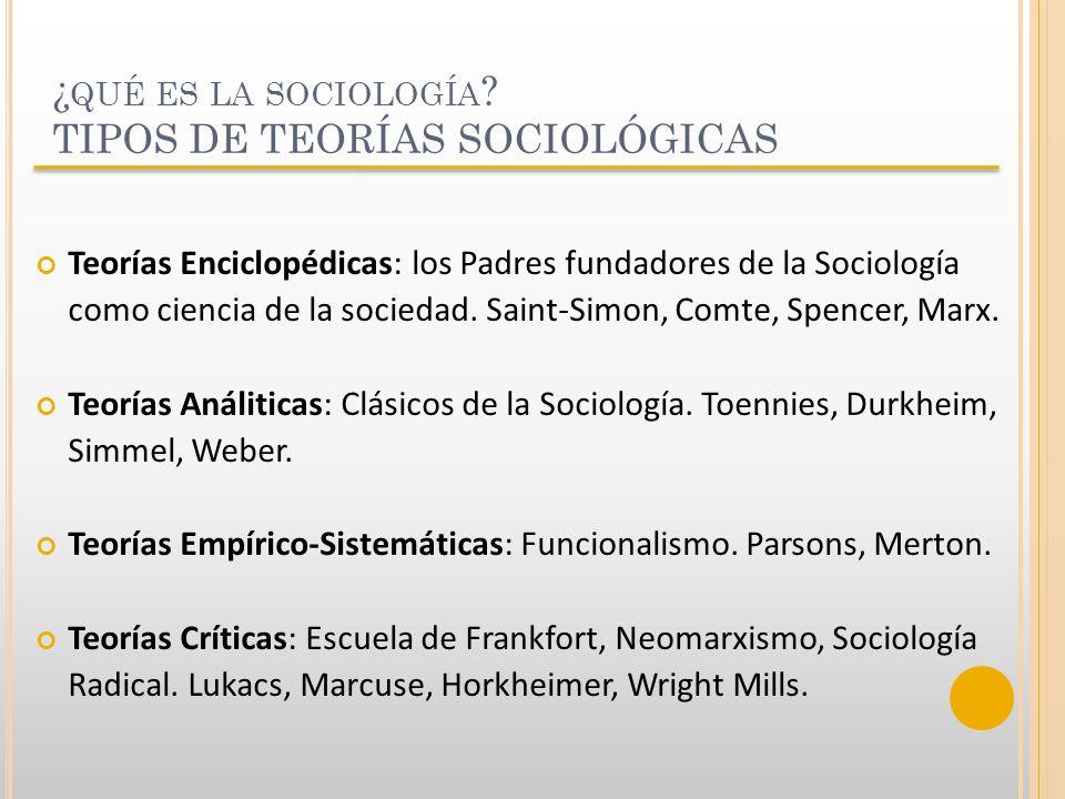 ¿ QUÉ ES LA SOCIOLOGÍA ? TIPOS DE TEORÍAS SOCIOLÓGICAS Teorías Enciclopédicas: los Padres fundadores de la Sociología como ciencia de la sociedad. Sai