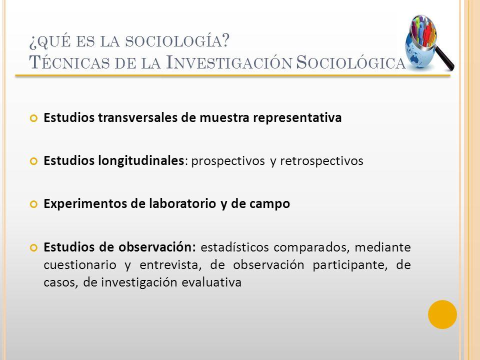 ¿ QUÉ ES LA SOCIOLOGÍA ? T ÉCNICAS DE LA I NVESTIGACIÓN S OCIOLÓGICA Estudios transversales de muestra representativa Estudios longitudinales: prospec