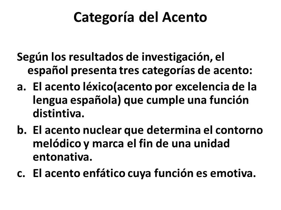 Categoría del Acento Según los resultados de investigación, el español presenta tres categorías de acento: a.El acento léxico(acento por excelencia de