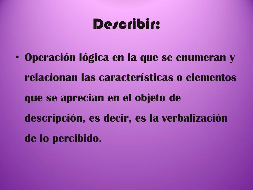 Describir: Operación lógica en la que se enumeran y relacionan las características o elementos que se aprecian en el objeto de descripción, es decir,