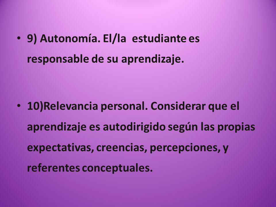 9) Autonomía. El/la estudiante es responsable de su aprendizaje. 10)Relevancia personal. Considerar que el aprendizaje es autodirigido según las propi