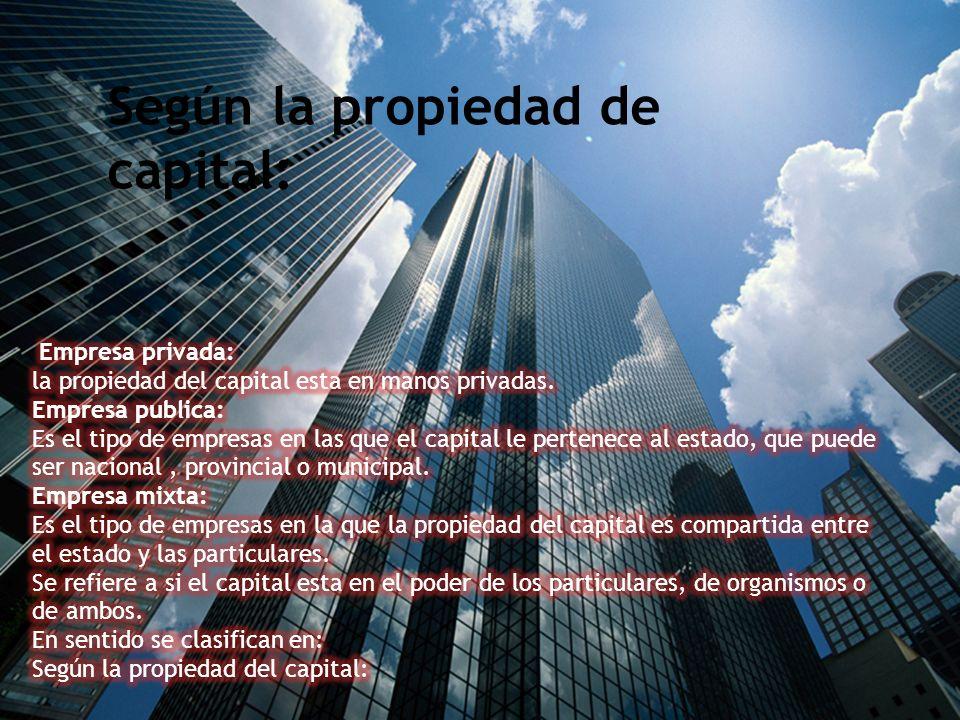 Se refiere a si el capital esta en el poder de los particulares, de organismos o de ambos. En sentido se clasifican en: Empresa privada: la propiedad