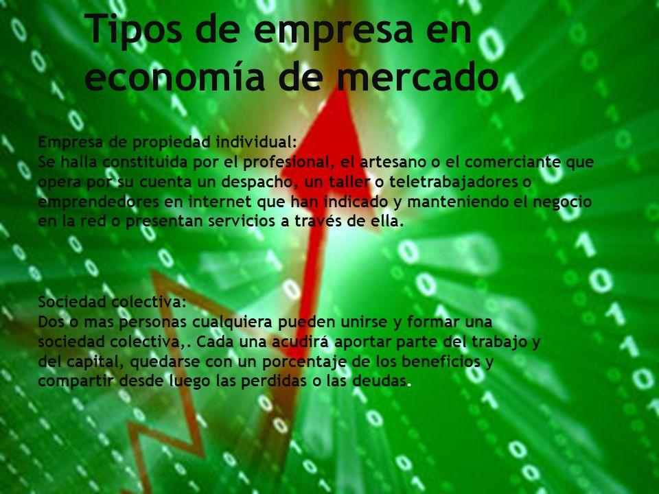 Tipos de empresa en economía de mercado Empresa de propiedad individual: Se halla constituida por el profesional, el artesano o el comerciante que ope