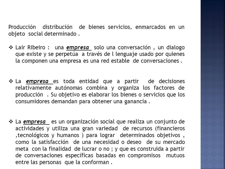Producción distribución de bienes servicios, enmarcados en un objeto social determinado. Lair Ribeiro : una empresa solo una conversación, un dialogo