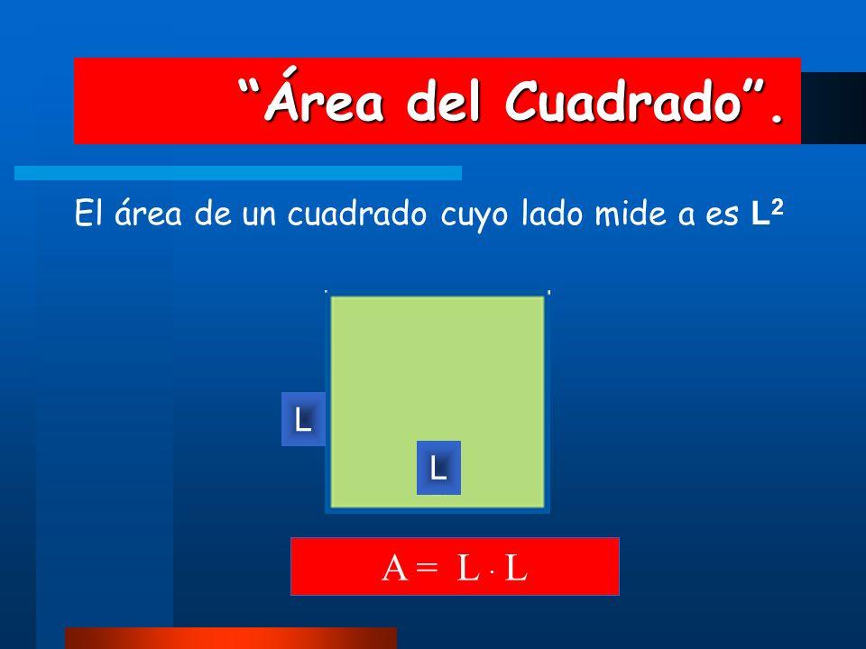 Área del Cuadrado. Área del Cuadrado. El área de un cuadrado cuyo lado mide a es L 2 L A = L · L L