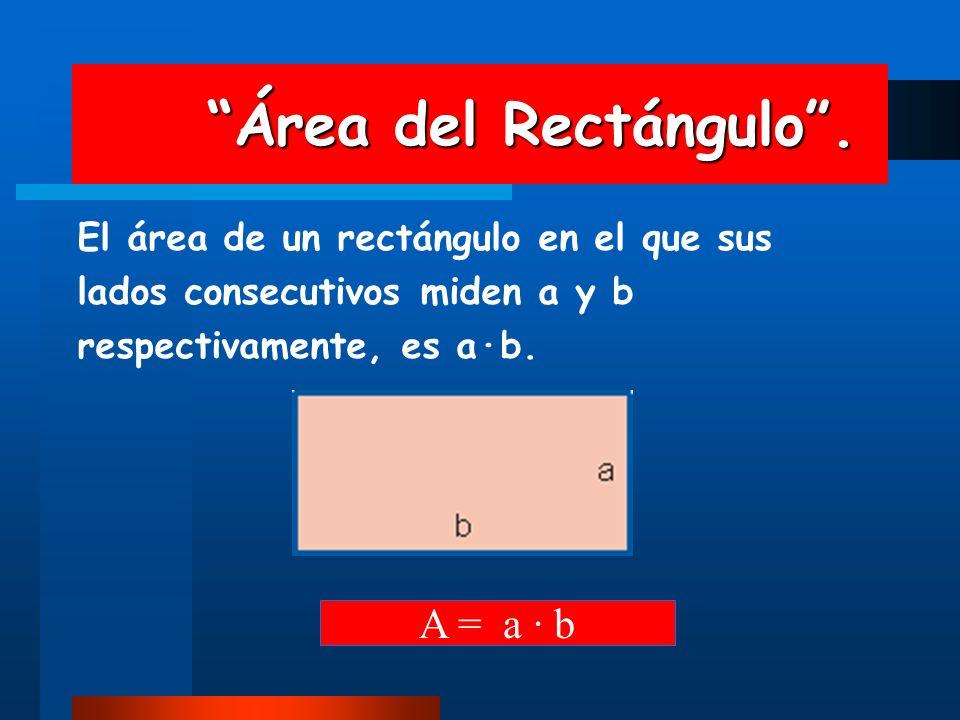 Área del Rectángulo. Área del Rectángulo. El área de un rectángulo en el que sus lados consecutivos miden a y b respectivamente, es a·b. A = a · b