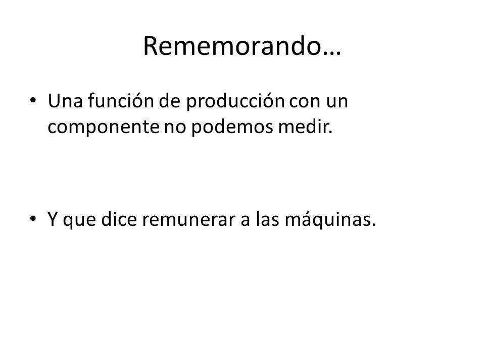 Rememorando… Una función de producción con un componente no podemos medir. Y que dice remunerar a las máquinas.