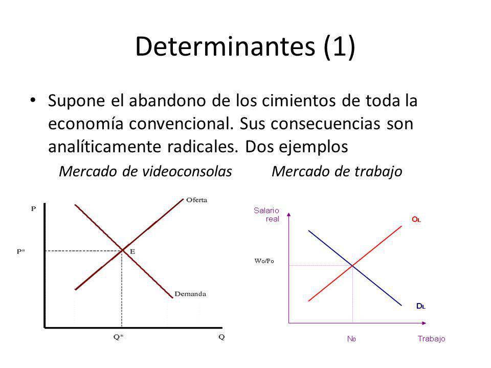 Determinantes (1) Supone el abandono de los cimientos de toda la economía convencional. Sus consecuencias son analíticamente radicales. Dos ejemplos M